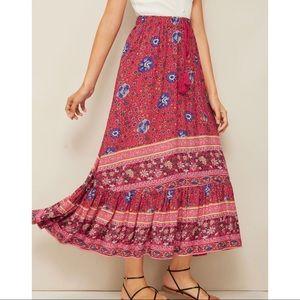 Boho Tasseled Floral Print  Skirt